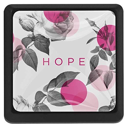 EZIOLY Hope - Pomos cuadrados para armarios de cocina, diseño de lunares, color rojo