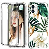 iPhone 11 Pro Max Case, [Built-in Screen Protector] Flower Full Body Shockproof Dual Layer High Impact Protective Hybrid Hard Plastic & Soft TPU Cover Case for iPhone 11 Pro Max 6.5',White/Green Flowe