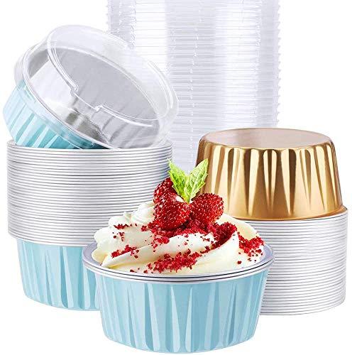 CrBoelves Aluminum Foil Muffin Liners, 50 PCs Disposable Ramekins, Aluminum Foil Baking Cups with Lids, Disposable Muffin Cupcake Liners Cups Holders Cases Boxes Pans(Blue+Gold, 50pack)