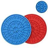 DXIA 2 Piezas Almohadilla Lamer de Perros para Ducha, Alimentador Lento Tapete para Lamer Potente Dispositivo de Distracción de Succión, Compañero de Ducha para Mascotas, Azul, Rojo