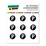 Graphics and More Letter P Initial Black And White Home Button Stickers Fits Apple iPhone 4/4S/5/5C/5S, iPad, iPod Touch - Non-Retail Packaging - Clear