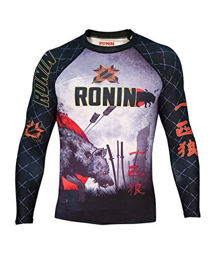 Ronin Brand Lone Wolf Long Sleeve Rash Guard (Lg) Black