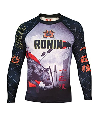 Ronin Brand Lone Wolf Long Sleeve Rash Guard (Lg) Black