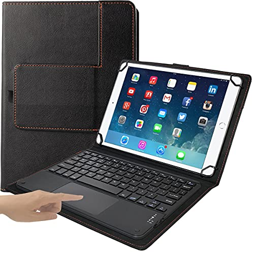 Eoso TouchPad Keyboard case for 9', 10',10.1',10.5' Tablets,2-in-1 Bluetooth Wireless Keyboard with Touchpad & Leather Folio Cover(Black)