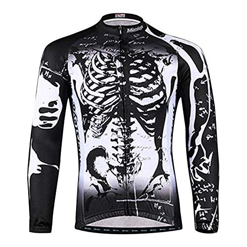 Mersteyo Men's Cycling Jersey Long Sleeve with 3 Rear Pockets Breathable Quick Dry Bike Bicycle Shirt Full Zipper XX-Large Size