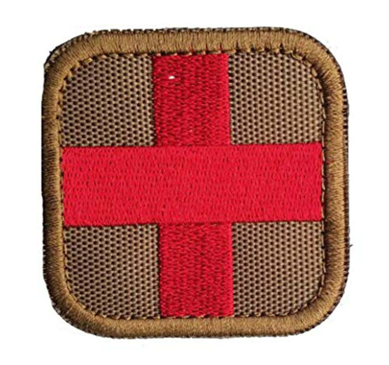 Embroidered Medic Cross Tactical Patch with Backing Decorative Badge Appliques (Tan/Red)