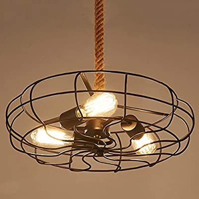 Industrial Vintage Fan Style Light, JIANGXIN Semi Flush Ceiling Light Chandelier Pendant Light 18.1''W 110V with Metal Cage Fixture Pendant Lighting with Hanging Rope, Edison E26/E27 Bulbs (3 Lights)