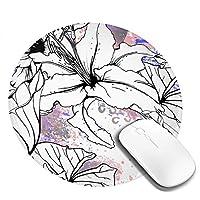 マウスパッド 円柄 ユリ 花 抽象 手描き 上品 ゲーミング ゴム底 光学マウス対応 滑り止め エレコム 耐久性が良い おしゃれ かわいい 防水 サイバーカフェ オフィス最適 適度な表面摩擦 直径:20cm