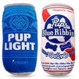 Pup Light and Pups Blue Ribbin - Funny Dog Toys - Plush Squeaky Dog Toys for Medium, Small and Large - Cute Dog Gifts for Dog Birthday - Cool Stuffed Parody Dog Toys (2 Pack) (Mix)