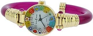 Murano Glass Millefiori Bangle Watch - Magenta Multicolor