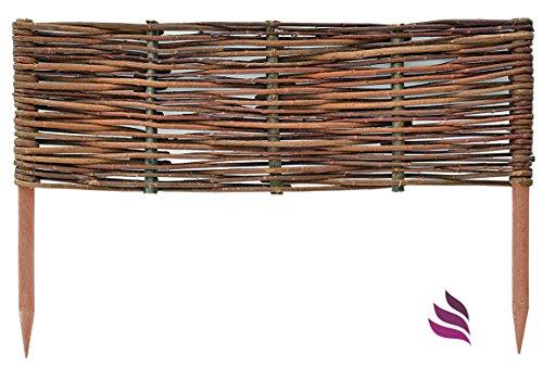 Floranica® Beeteinfassung, Weiden-Zaun, Steckzaun in 25 Größen, imprägniert mit Buchepflöcke für längere Haltbarkeit, Beet-Umrandung, Weg-Abgrenzung, Länge:1 STK. x 30 cm, Höhe:20 cm
