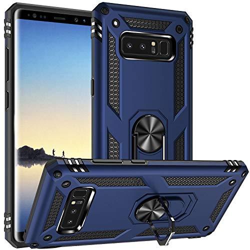 Fetrim Coque pour Galaxy Note 8, Étui Antichoc Cover Anti Housse avec Bague Rotatif Support pour Samsung Galaxy Note 8 Bleu Marin