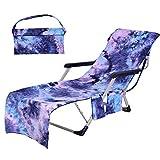 SUMSEA Strandkorb Handtuch Lounge Chair Cover, Mikrofaser Strandtasche Garten Sonnenliege Handtuch Stuhl Strandtuch mit Taschen schnell trocknende Handtücher, 210x75cm (Purple)