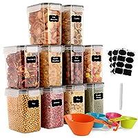 gomaihe 1.6l contenitori alimentari per cereali, contenitori ermetici alimentari plastica con coperchio per alimenti 10 pezzi, utilizzato per la conservazione di pasta, cereali, muesli, farina