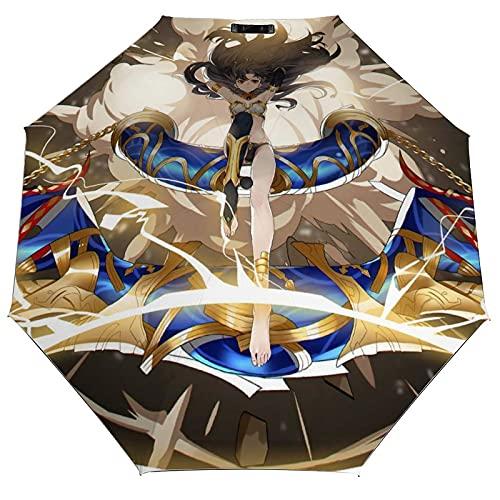 Ishtar Fate Grand Order paraguas totalmente automático de viaje plegable antiultravioleta, resistente, duradero, sombreado al sol, a prueba de lluvia, vinilo a la moda