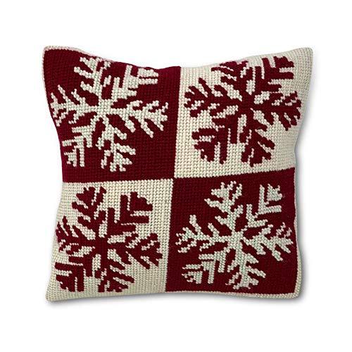 Kit de bordado para cojín navideño | cañamazo impreso de 40cm x 40 cm | incluye lana y aguja de tapicería | Diseño Xmas | de Delicatela