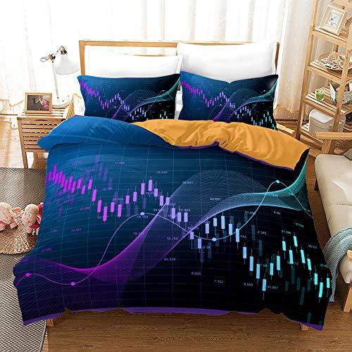 ZHOUJIELUN Dubbel sängkläder påslakanset lager kurva påslakan med dragkedja mjukt bekvämt mikrofiber + 2 matchande örngott 50 x 75 cm (19,7 tum x 29,5 tum) – super kung