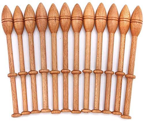 Bobine di pizzo a tombolo, 12 pezzi Bobina di pizzo in legno antico vintage francese artigianato artigianale tornito bobine di pizzo in legno strumenti per tessitura in legno