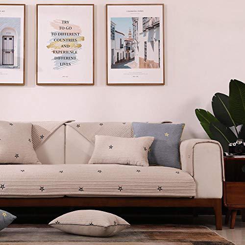 Sala Fundas de Sofá,Fundas de sofá con Bordado de Estrellas, Funda de sofá nórdica Moderna, Protector de sofá Antideslizante de algodón, Funda de Muebles-Caqui_Funda de Almohada de 45 * 45 cm