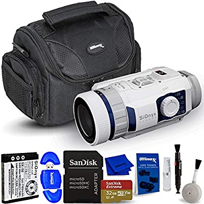 SiOnyx Aurora Sport I Full Color Digital Night Vision Camera (Infrared Night Vision Monocular) - Essential Bundle Includes: Extreme 32GB MicroSD, Memory Card Reader, Gadget Bag and Cleaning Kit from Pixel Hub