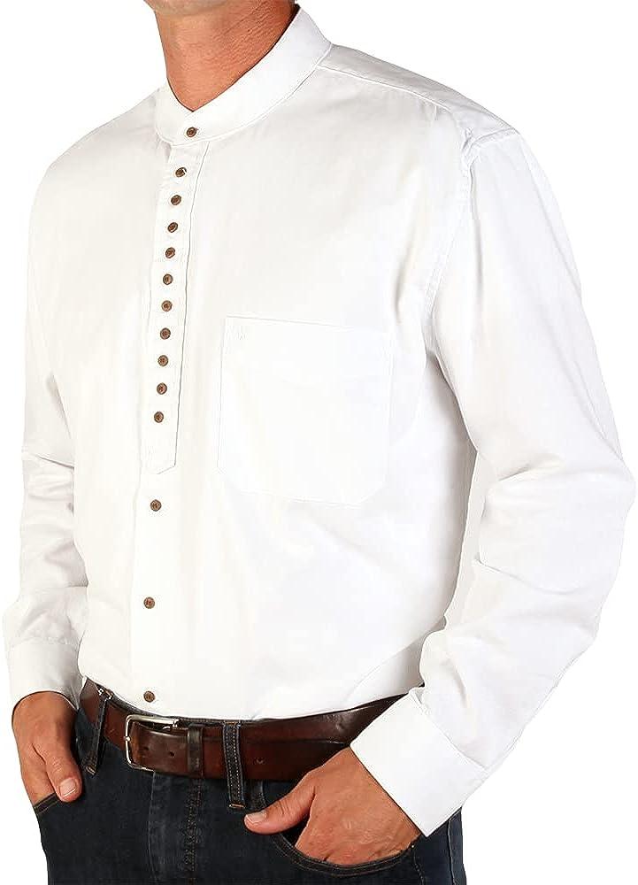 The Celtic Ranch Traditional Irish Grandfather, Men's Long-Sleeve Collarless Shirt