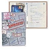 kwmobile Custodia compatibile con passaporto - Porta passaporto in design 3D - Con chiusura di sicurezza ad elastico - Protezione per documenti - rosso/bianco/grigio