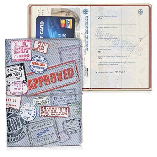 kwmobile Set de 1x Fundas Protectoras de Pasaporte - Protectores de Pasaporte con diseño 3D Approved - con Espacio para Tarjetas