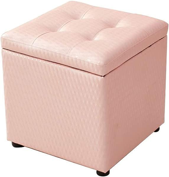 Zenggp 时尚储物凳 PU 换鞋凳沙发凳储物凳木架高弹不变形粉色 404040厘米