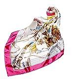Tianfu - Juego de pañuelos cuadrados de seda mixtos para mujer, pañuelos de cuello y cabeza, pañuelos de verano, 90 x 90 cm, moda para mujer, estilo de satén