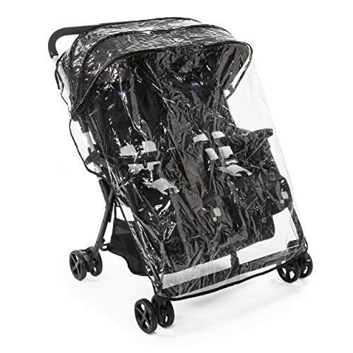 Chicco OHlalà Twin Double Stroller Pushchairs from Birth to 15 kg for Twins and Siblings, Lightweight Reclining and Folding Double Buggy, Compact Closure, Rain Cover and Extendable Canopy - Black