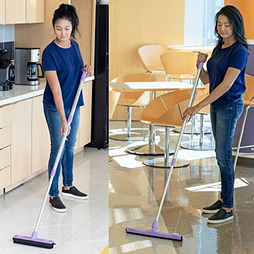 Anoda 2 Pack Push Broom Set with a 17 inch Shower Floor Squeegee Broom, a 13 inch Rubber Broom Pet Hair Carpet Rake and a 59 inch Handle. Kitchen Broom and Dustpan Set with a Microfiber Cloth.