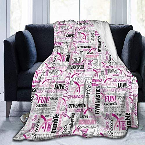 AEMAPE Manta de Microfibra de Felpa Suave para niños, niños, niñas, Mantas para Cama, sofá, sillón, Ligera, Gimnasia Rosa, 50 x 40 Pulgadas