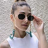 Ursumy Gold Glasses Necklace Chunky Eyeglasses Holder Strap Sunglasses Chain Eyewear Retainer for Women (Green)
