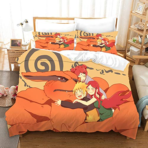 Probuk Naruto Kakashi Uchiha Itachi Akatsuki Sasuke Anime Juego de ropa de cama 100% microfibra, funda nórdica para niños y niñas (A-04,220 x 240 cm (50 x 75...