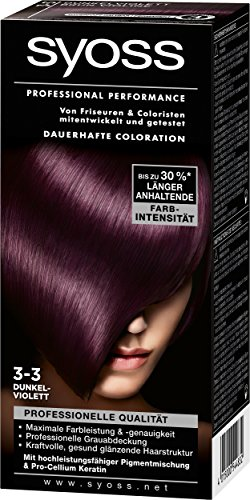 Syoss Professional Performance Coloration, 3-3 Dunkelviolett, 3er Pack (3 x 1 Stück)
