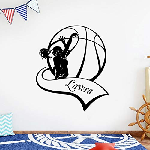 Pegatinas de pared de baloncesto pegatinas de pared extraíbles papel tapiz para habitación de niños decoración familiar arte pegatinas de pared autoadhesivas A3 57x66cm