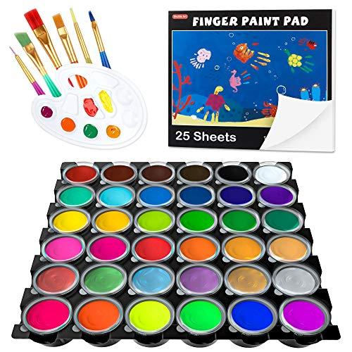 Washable Finger Paint Shuttle Art 44 Pack Kids Paint Set with 36 Colors Finger Paints30ml 1oz for Toddlers Paint Brushes Finger Paint Paper Pad Palette Non Toxic Paint for Kids Art amp Craft