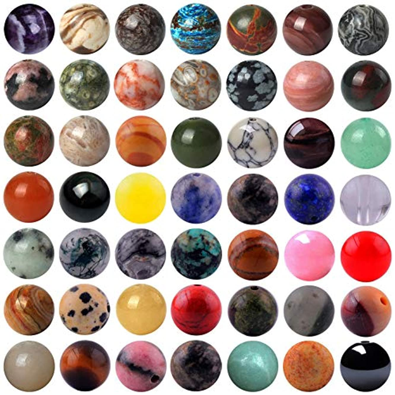Natural Stone Beads 200pcs Mixed 8mm Round Genuine Real Stone Beading Loose Gemstone Hole Size 1mm DIY Charm Smooth Beads for Bracelet Necklace Earrings Jewelry Making (Stone Beads Mix 200pcs)