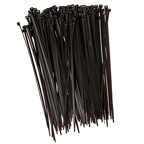Strong Ties Brand Premium Black Nylon Cable Ties, 10 Inches Long x .19 Inches Wide with 50 Pounds of Tensile Strength, 150 Pieces per Value Pack, Indoor Outdoor UV Resistant.