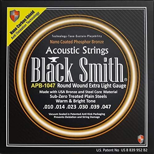 Blacksmith Pro cuerdas para guitarra acústica revestidas de bronce fósforo extra ligero 10-47 Nano Shield