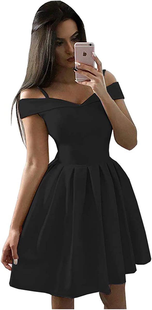 Cute Simple Off High quality new The security Shoulder Homecoming Dresses Short Satin Prom