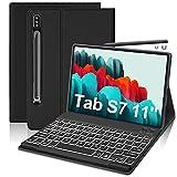 """Funda con Teclado Retroiluminado para Samsung Galaxy Tab S7 11""""2020(SM-T870/T875/T878), FOGARI Funda Protectora con Teclado Desmontable con Retroiluminación de 7 Colores para Galaxy Tab S7 2020,Negro"""