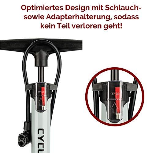 CYCLEHERO Fahrradluftpumpe (Farbe Schwarz) Fahrradpumpe mit übersichtlichem Manometer Display - 6
