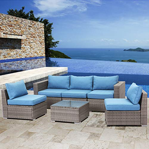 Solaste 6PCS Patio Furniture Set - All-Weather Wicker Outdoor Sectional Rattan Sofa Conversation Set with Glass Table,Blue Cushion