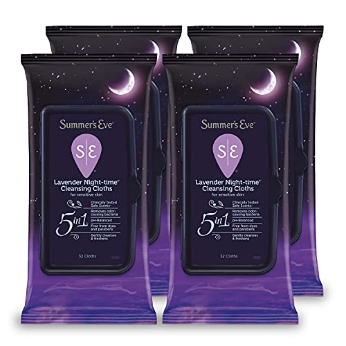 Summer's Eve Feminine Cleansing Wipes, Lavender Night-Time, 32 Count, 4 Pack