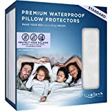 UltraPlush Premium Waterproof Pillow Protectors - Hypoallergenic and Bed Bug Proof Zippered Pillow Case - 2 Pack - Super Soft and Quiet (Standard Size 20 inches x 26 inches)