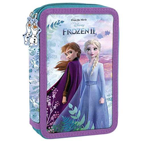 Disney Frozen - Die Eiskönigin Anna und ELSA, 2-Fach Federtasche Federmappe, 27 TLG. gefüllt (DKL27) für Mädchen, violett/blau, 21 x 12 x 4 cm