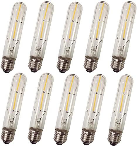 Lot de 10 E27 Ampoule Filament LED Bougie LED T10 2W Filament LED Équivalent Incandescence 40W Angle de diffusion 360 Blanc Chaud Lumière Lumineux 400LM AC220V