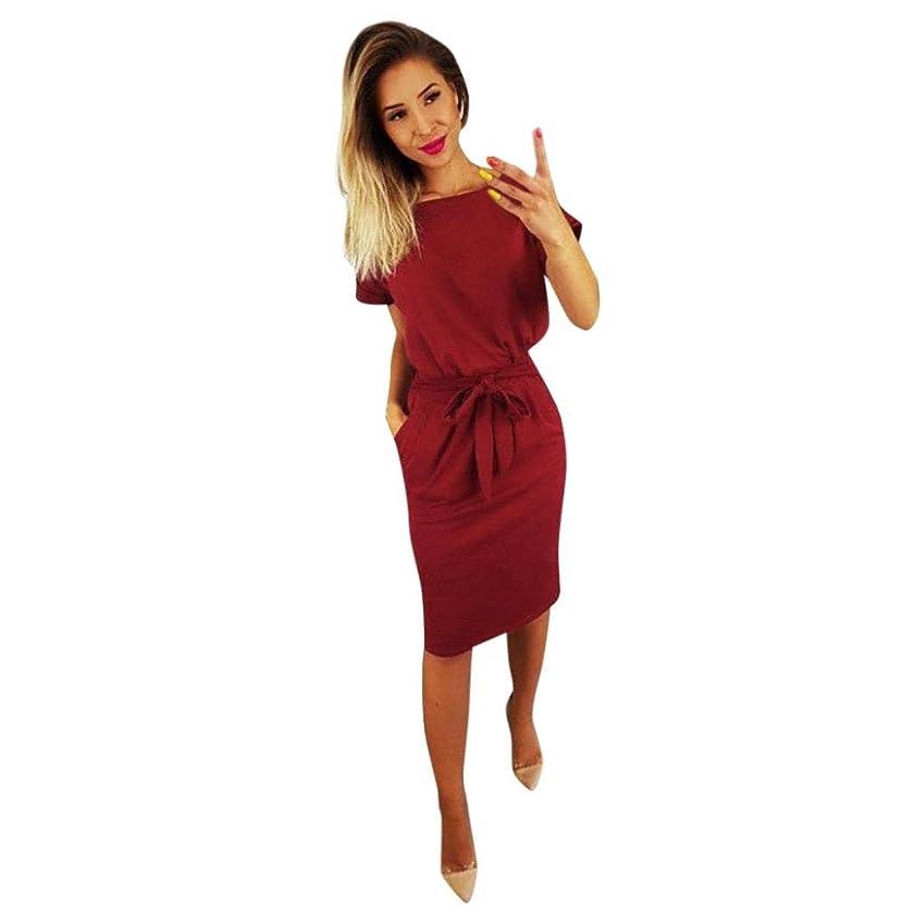 Rambling 2019 Fashion Women's Elegant Short Sleeve Wear to Work Casual Pencil Dress with Belt