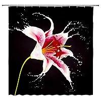 JOOCAR 水彩花フック付きシャワーカーテン生地バスルーム装飾耐久性のある防水生地バスルームカーテン 180cm x 180cm